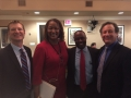 CWDA President Trent Rhorer, Sen. Holly Mitchell, Asm. Tony Thurmond and Phil Ansell Director of the Los Angeles County's Homeless Initiative prepare before an Assembly Joint Informational Hearing on Housing and Homelessness in California on February 22, 2016.