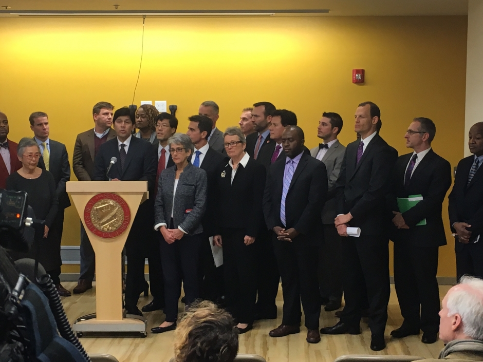 "CWDA joins Pro Tem Kevin de Leon and Senators at press conference at Mercy House in Sacramento to announce ""No Place like Home"" initiative."